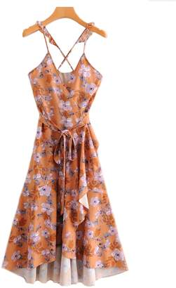 Goodnight Macaroon 'Harmony' Floral Print Frilly Cross Back Strap Wrap Dress
