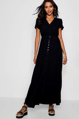 boohoo Briella Shired Waist Button Front Maxi Dress