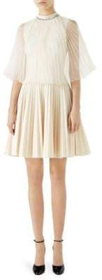 Gucci Pleated Organza Jersey Dress