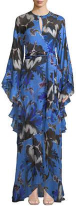 Diane von Furstenberg Lizella Silk Floral-Print Ruffle Wrap Gown