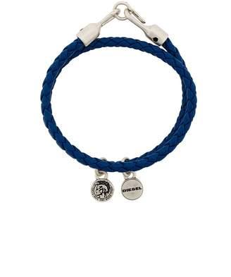 Diesel braided logo-charm bracelet
