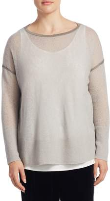 Lafayette 148 New York Plus Mohair-Blend Sequin Sweater