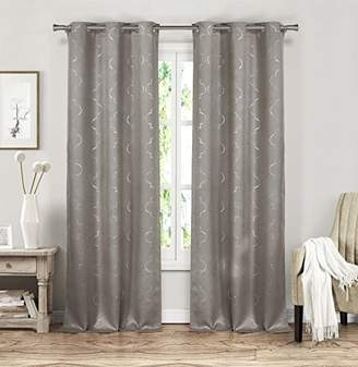 Camilla And Marc Blackout365 Stephanie Geometric Blackout Room Darkening Curtain with Set of 2 Panels, Polyester, Grey, 84 x 37 x 84 cm