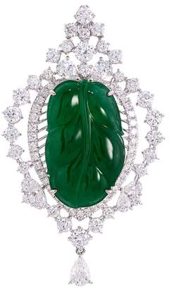 LC Collection Jade Diamond jade 18k white gold leaf pendant