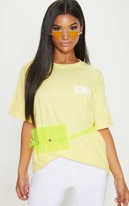 PrettyLittleThing Yellow Honey Slogan Oversized T Shirt