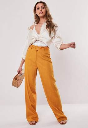 Missguided Linen Fabric Belted Trousers