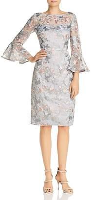 Eliza J Embroidered Mesh Illusion Dress