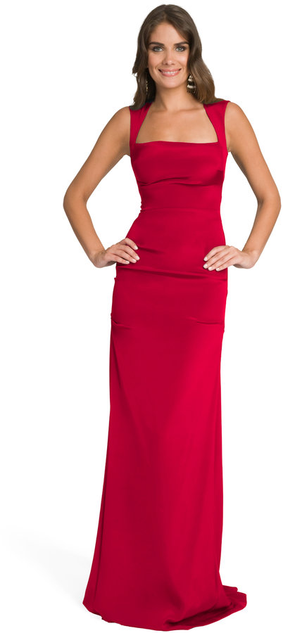 Nicole Miller Cherry Square Neck Gown