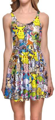 Pokemon Lady Queen Women's Pikachu Scoop Skater Dress Clubwear Ball Party Skirt M color
