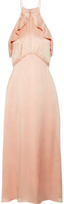 Zimmermann Ruffle-trimmed Washed-silk Midi Dress - Peach