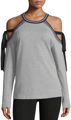Marled By Reunited Ribbon-Tied Cold-Shoulder Sweatshirt