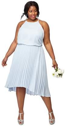Debut Pale Blue Chiffon Pleated 'Paris' High Plus Size Low Dress