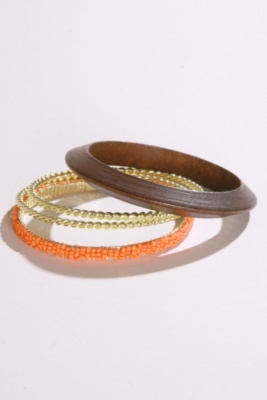 Orange Bead Wood and Gold Twist Bangle Bracelet 4-Pack