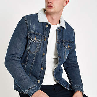 River Island Only and Sons blue fleece collar denim jacket