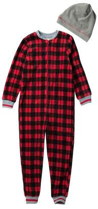 Petit Lem Plaid One-Piece Fleece Pajama & Hat Set (Big Kid)