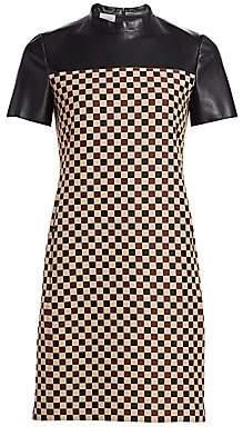 Akris Punto Women's Chess Check & Leather Sheath Dress