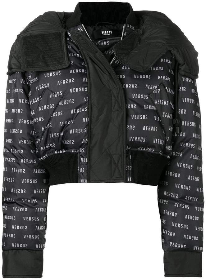monogram cropped puffer jacket