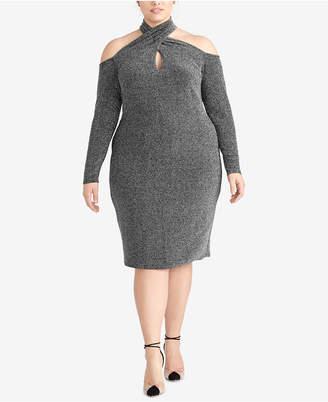Rachel Roy Plus Size Sparkle-Knit Halter Dress