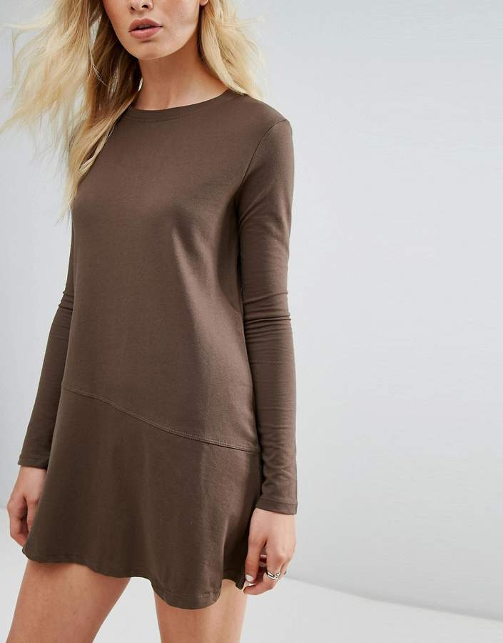 Daisy Street Sweatshirt Dress With Fluted Hem