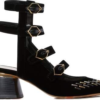 Nicholas Kirkwood Julia Velvet Leather Sandals