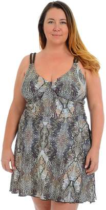 Cyn And Luca Plus Size Cyn and Luca Snakeskin Sarong Swimdress