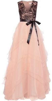 Mikael Aghal Embellished Tulle-Paneled Tiered Chiffon Gown