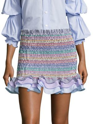 Petersyn Barret Striped Shirred Mini Skirt $268 thestylecure.com