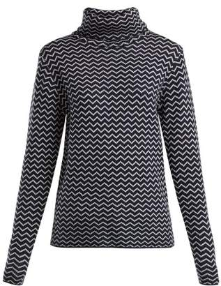Perfect Moment - Chevron Knit Roll Neck Wool Sweater - Womens - Navy White