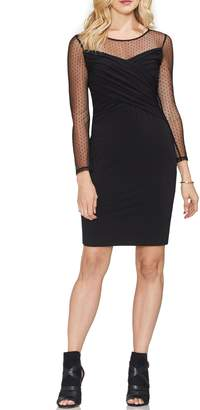Vince Camuto Cross Front Dot Mesh Detail Dress