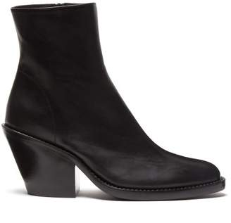 Ann Demeulemeester Slanted Heel Leather Ankle Boots - Womens - Black