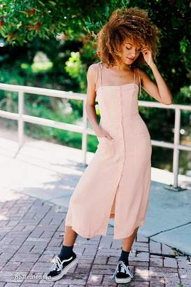 Urban Outfitters Gold Dust Tie-Shoulder Midi Dress