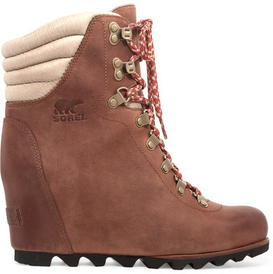 Sorel - ConquestTM Leather Wedge Boots - Brown