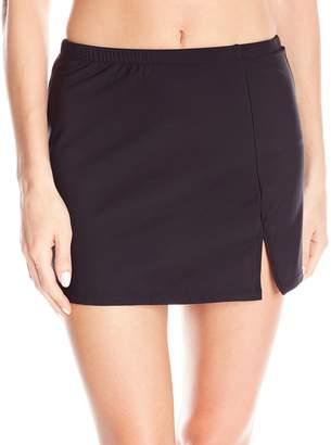 Penbrooke Women's Tummy Control Side Slit Skirted Brief Bikini Bottom