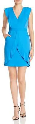 BCBGMAXAZRIA Flounced Satin Dress