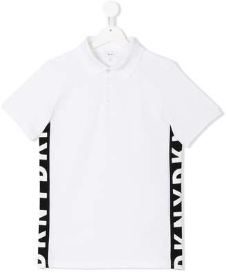DKNY Teen logo side stripe polo shirt
