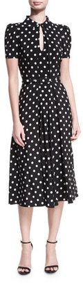Ralph Lauren Collection Mariella Polka-Dot Short-Sleeve Midi Dress $2,290 thestylecure.com
