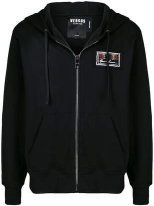 Versus chest logo patch zip hoodie