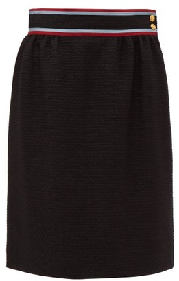 Gucci Contrast Waistband Tweed Skirt - Womens - Black Multi