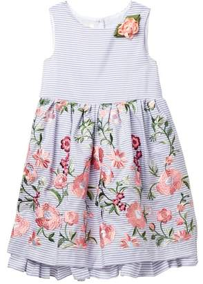 Laura Ashley Embroidered Sleevelss Dress (Toddler & Little Girls)