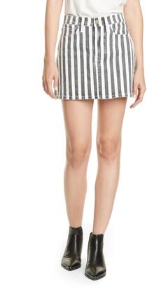 Frame Le Mini Beatnik Stripe Denim Skirt
