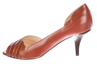O Jour Leather Peep-Toe Pumps