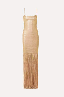 Herve Leger Fringed Metallic Coated-bandage Gown