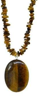 Lord & Taylor Sterling Silver and Tiger Eye Pendant Chip Necklace