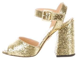 Charlotte Olympia Glitter Ankle Strap Sandals