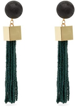 Vanda Jacintho - Cube Tassel Drop Earrings - Womens - Green