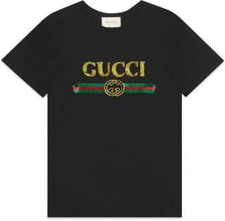 Gucci (グッチ) - Oversize T-shirt with sequin Gucci logo