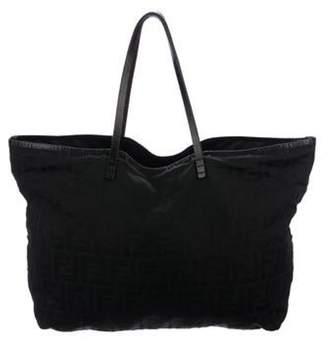 Fendi Leather-Trimmed Zucca Roll Tote Black Leather-Trimmed Zucca Roll Tote