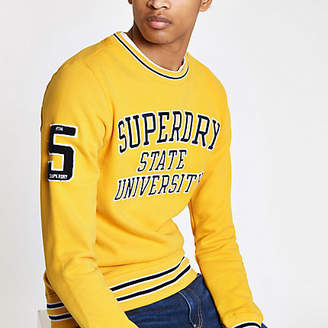 River Island Superdry yellow tipped crew neck sweater