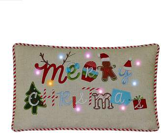 St Nicholas Square Merry Christmas LED & Musical Throw Pillow