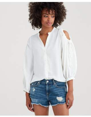 07bfd055a64025 7 For All Mankind Cold Shoulder Tie Top In Soft White